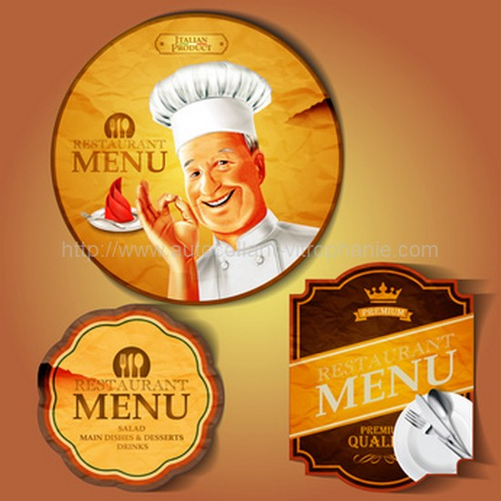 badges chef menu vintage promotion publicitaire